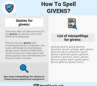 givens, spellcheck givens, how to spell givens, how do you spell givens, correct spelling for givens