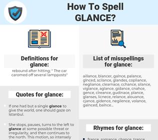 glance, spellcheck glance, how to spell glance, how do you spell glance, correct spelling for glance