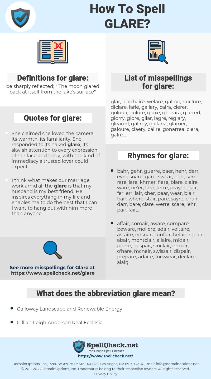 glare, spellcheck glare, how to spell glare, how do you spell glare, correct spelling for glare