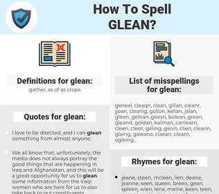 glean, spellcheck glean, how to spell glean, how do you spell glean, correct spelling for glean