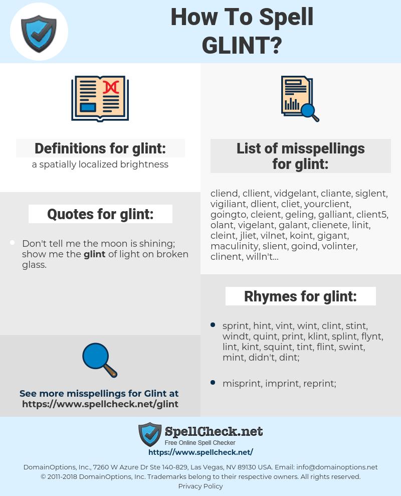 glint, spellcheck glint, how to spell glint, how do you spell glint, correct spelling for glint