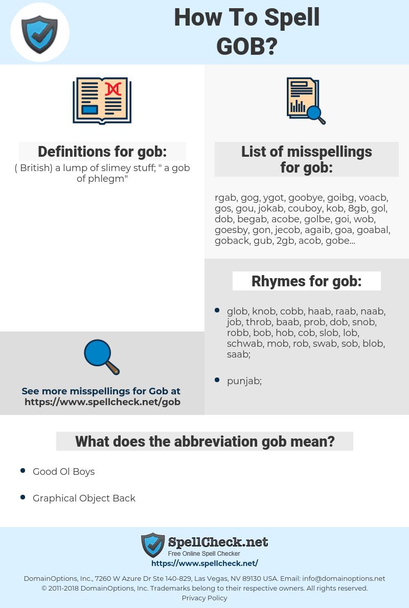 gob, spellcheck gob, how to spell gob, how do you spell gob, correct spelling for gob