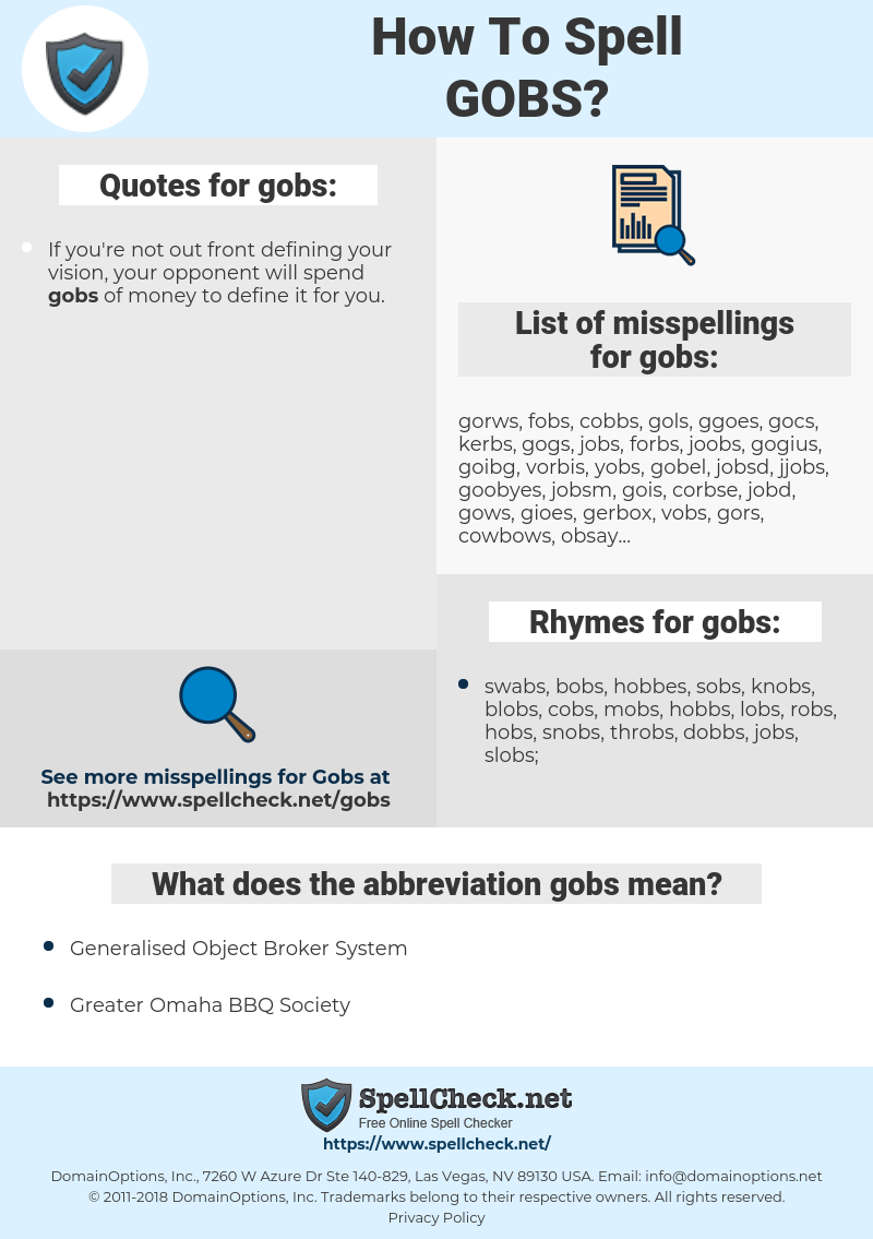 gobs, spellcheck gobs, how to spell gobs, how do you spell gobs, correct spelling for gobs