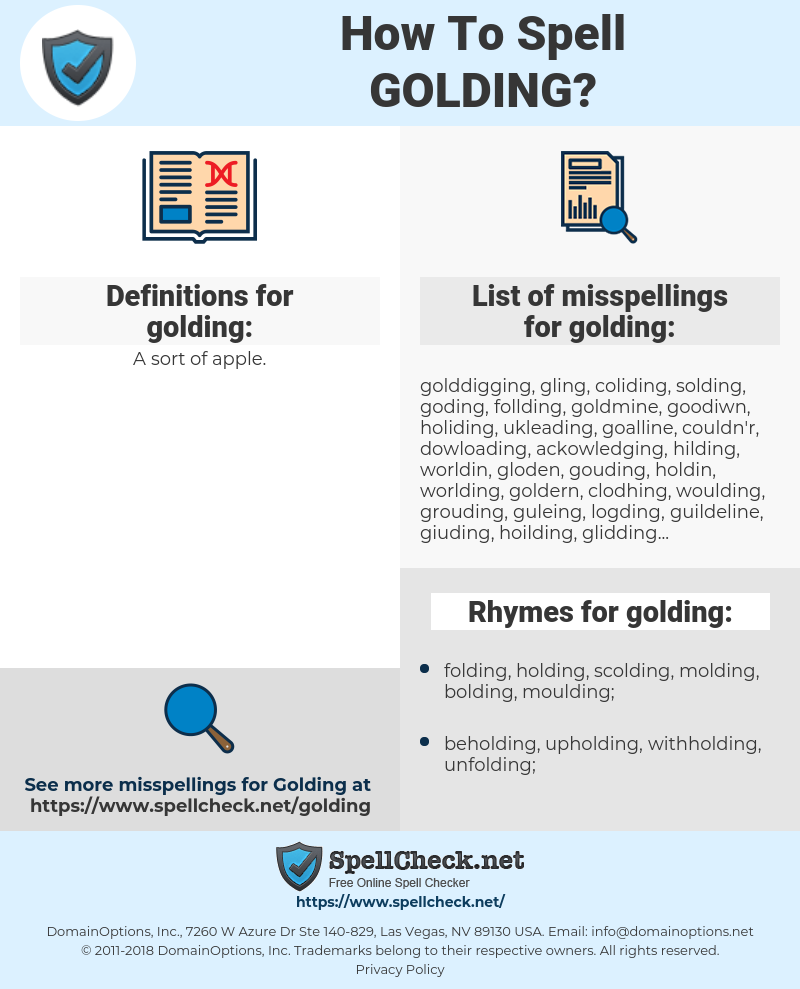 golding, spellcheck golding, how to spell golding, how do you spell golding, correct spelling for golding