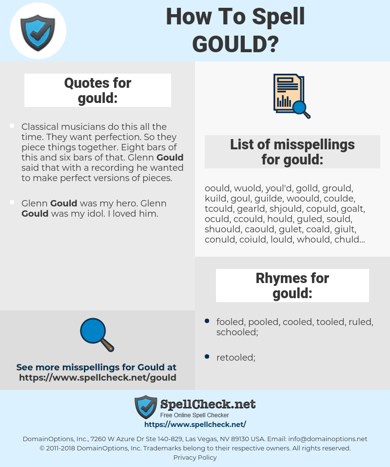 gould, spellcheck gould, how to spell gould, how do you spell gould, correct spelling for gould