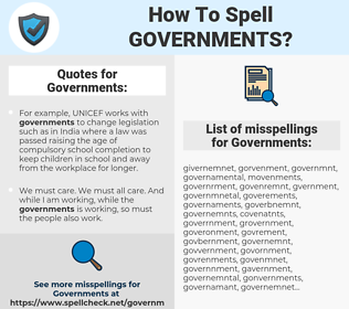 Governments, spellcheck Governments, how to spell Governments, how do you spell Governments, correct spelling for Governments