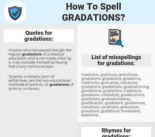 gradations, spellcheck gradations, how to spell gradations, how do you spell gradations, correct spelling for gradations
