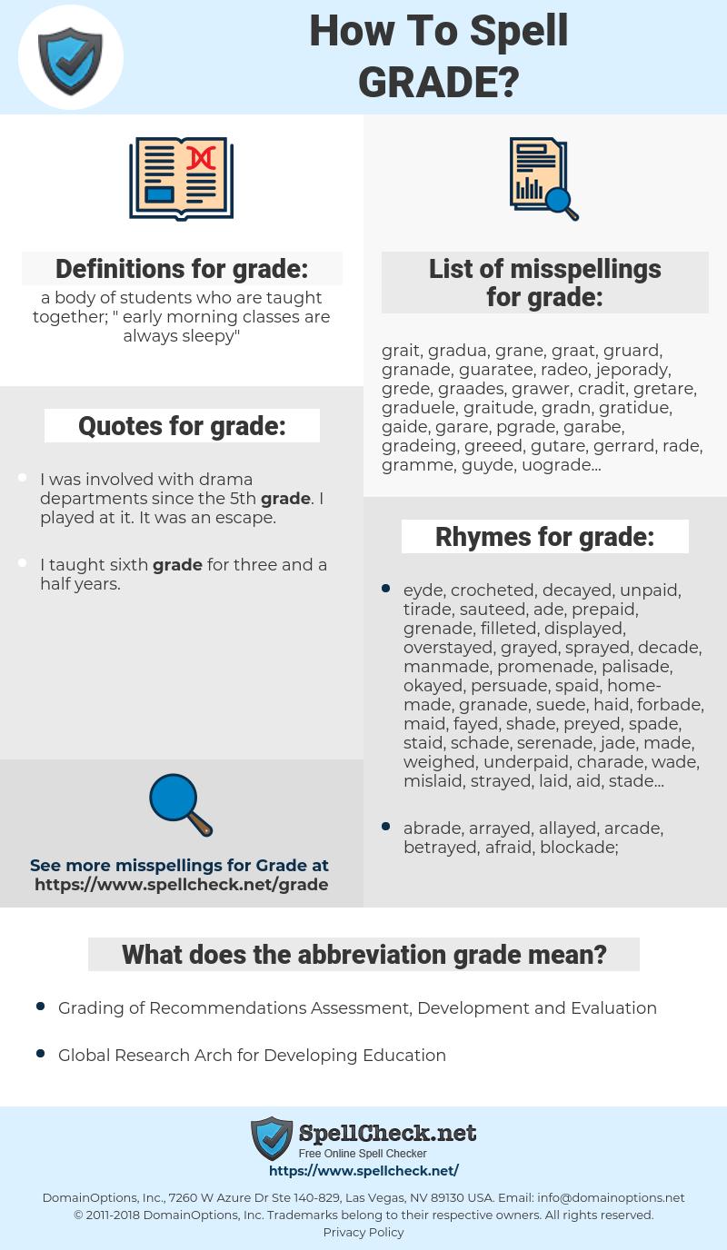 grade, spellcheck grade, how to spell grade, how do you spell grade, correct spelling for grade