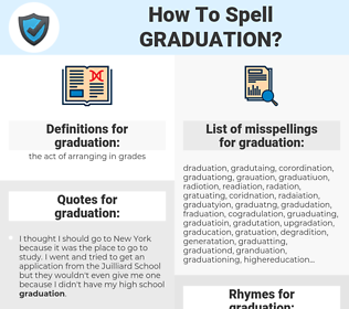 graduation, spellcheck graduation, how to spell graduation, how do you spell graduation, correct spelling for graduation