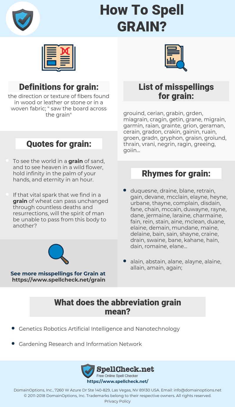 grain, spellcheck grain, how to spell grain, how do you spell grain, correct spelling for grain