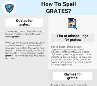 grates, spellcheck grates, how to spell grates, how do you spell grates, correct spelling for grates