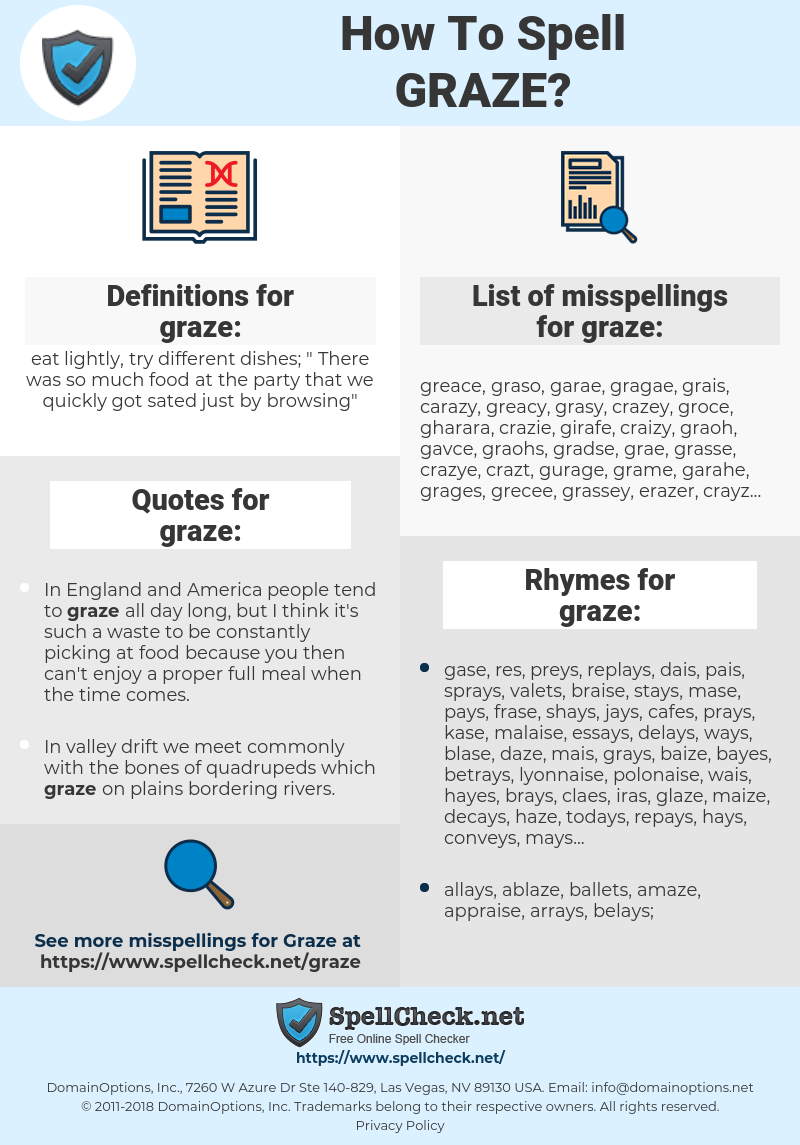 graze, spellcheck graze, how to spell graze, how do you spell graze, correct spelling for graze