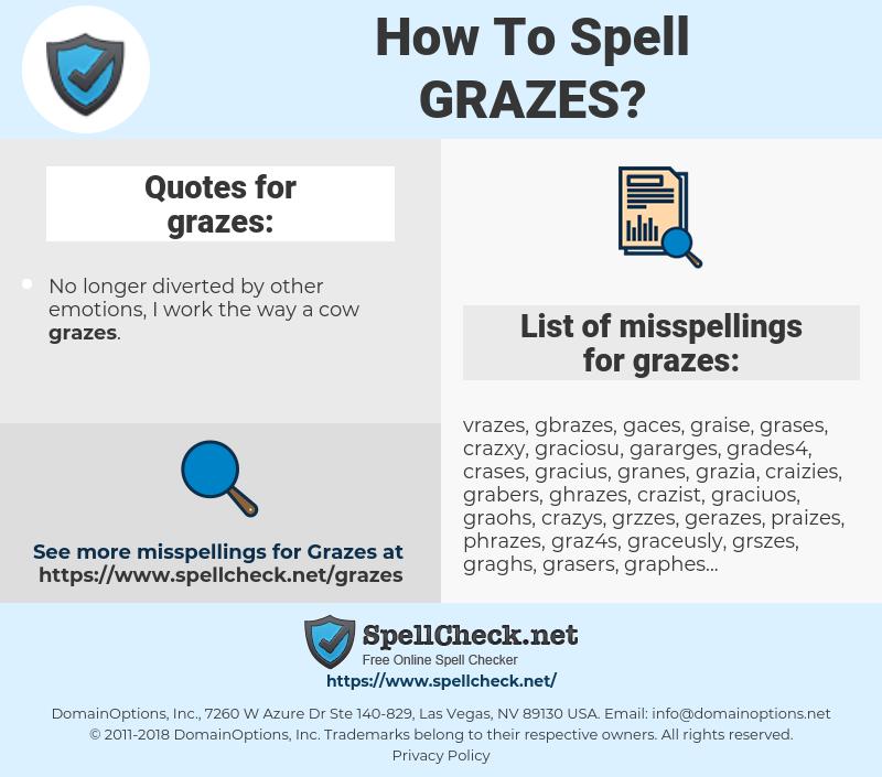 grazes, spellcheck grazes, how to spell grazes, how do you spell grazes, correct spelling for grazes