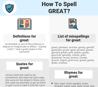great, spellcheck great, how to spell great, how do you spell great, correct spelling for great