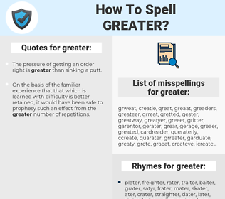 greater, spellcheck greater, how to spell greater, how do you spell greater, correct spelling for greater