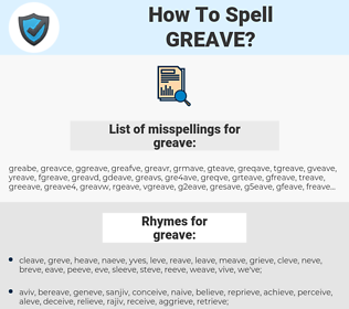 greave, spellcheck greave, how to spell greave, how do you spell greave, correct spelling for greave