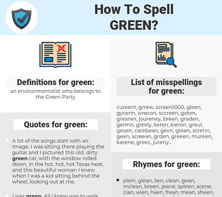 green, spellcheck green, how to spell green, how do you spell green, correct spelling for green
