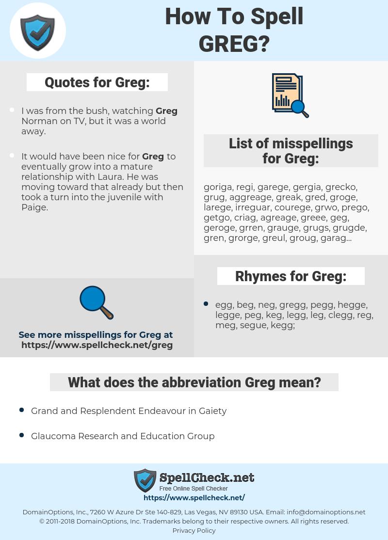 Greg, spellcheck Greg, how to spell Greg, how do you spell Greg, correct spelling for Greg