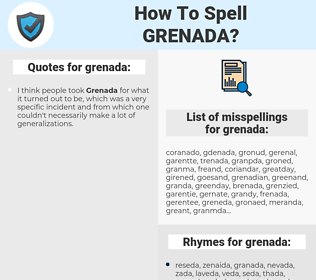 grenada, spellcheck grenada, how to spell grenada, how do you spell grenada, correct spelling for grenada