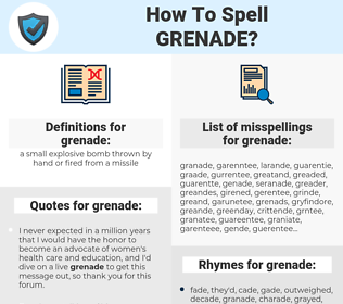 grenade, spellcheck grenade, how to spell grenade, how do you spell grenade, correct spelling for grenade