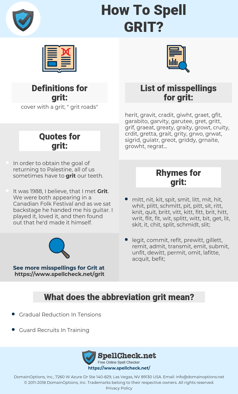 grit, spellcheck grit, how to spell grit, how do you spell grit, correct spelling for grit