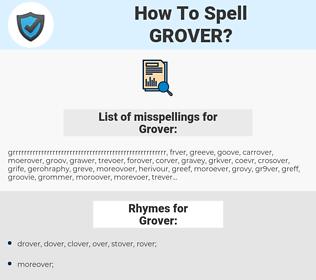 Grover, spellcheck Grover, how to spell Grover, how do you spell Grover, correct spelling for Grover