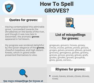 groves, spellcheck groves, how to spell groves, how do you spell groves, correct spelling for groves