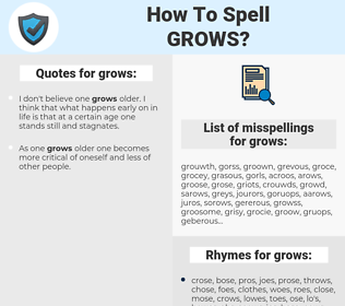 grows, spellcheck grows, how to spell grows, how do you spell grows, correct spelling for grows