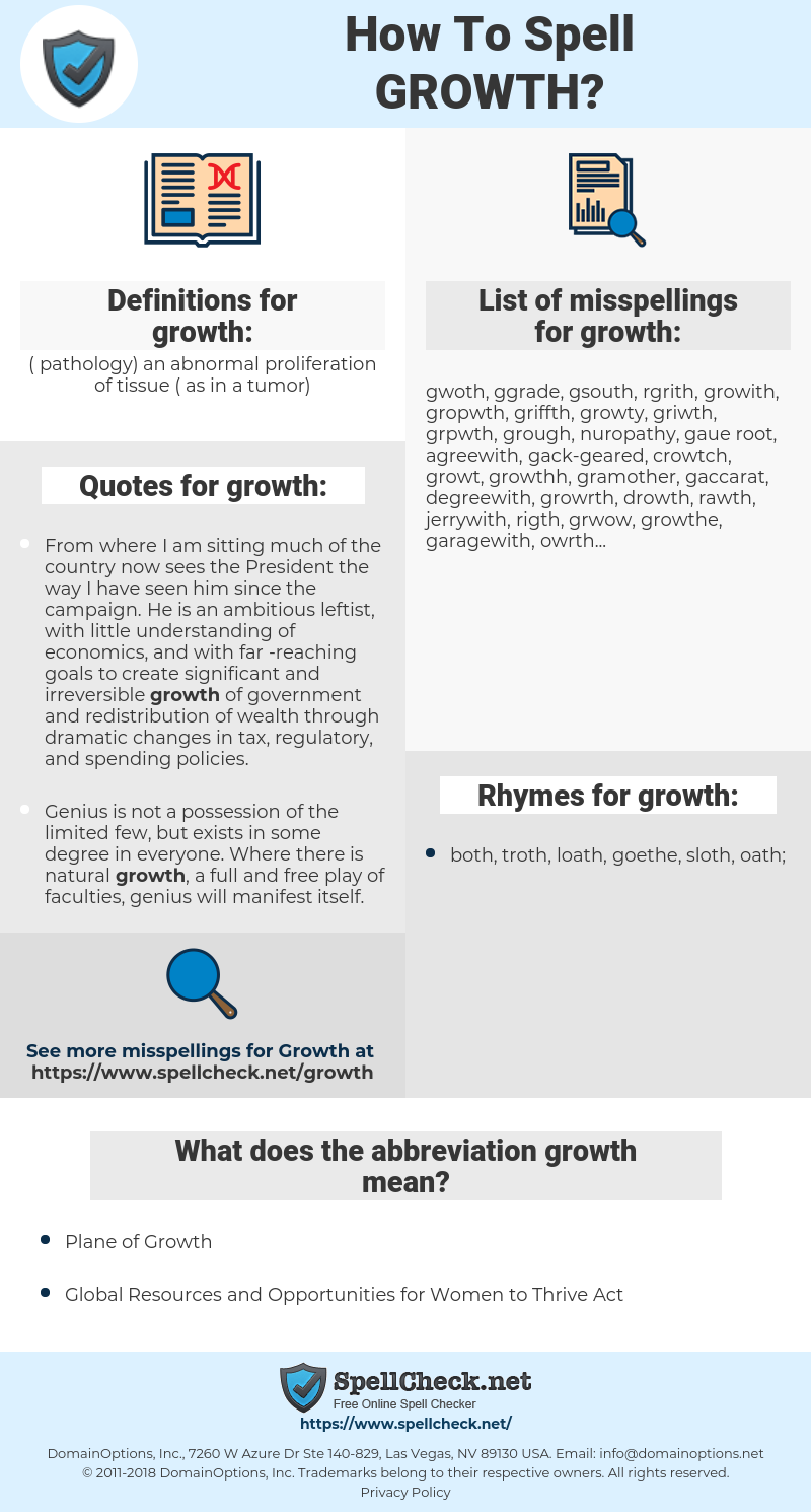 growth, spellcheck growth, how to spell growth, how do you spell growth, correct spelling for growth