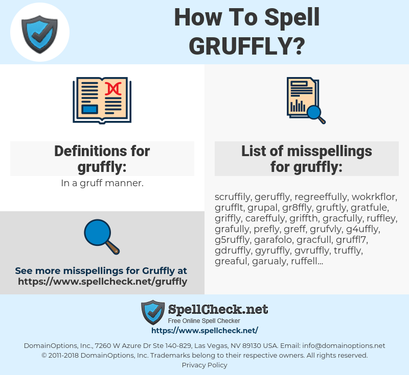 gruffly, spellcheck gruffly, how to spell gruffly, how do you spell gruffly, correct spelling for gruffly