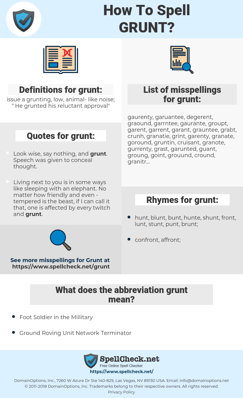 grunt, spellcheck grunt, how to spell grunt, how do you spell grunt, correct spelling for grunt