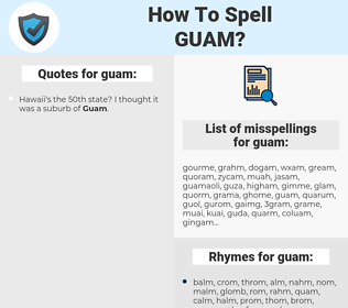 guam, spellcheck guam, how to spell guam, how do you spell guam, correct spelling for guam