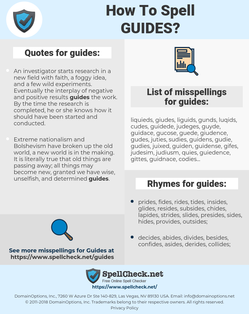 guides, spellcheck guides, how to spell guides, how do you spell guides, correct spelling for guides