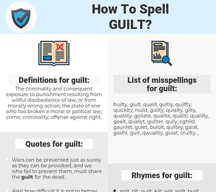 guilt, spellcheck guilt, how to spell guilt, how do you spell guilt, correct spelling for guilt