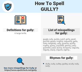 gully, spellcheck gully, how to spell gully, how do you spell gully, correct spelling for gully