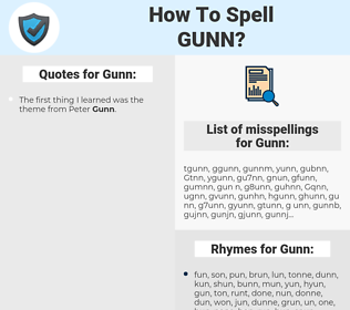 Gunn, spellcheck Gunn, how to spell Gunn, how do you spell Gunn, correct spelling for Gunn