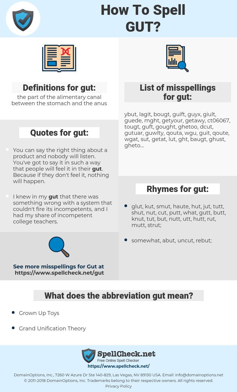 gut, spellcheck gut, how to spell gut, how do you spell gut, correct spelling for gut
