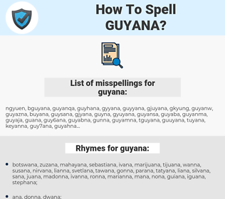 guyana, spellcheck guyana, how to spell guyana, how do you spell guyana, correct spelling for guyana