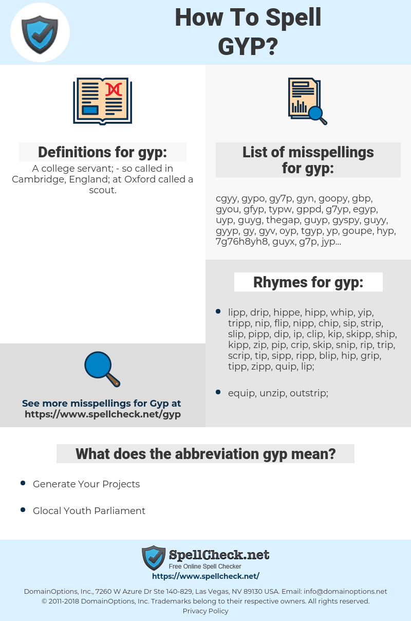 gyp, spellcheck gyp, how to spell gyp, how do you spell gyp, correct spelling for gyp