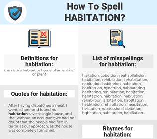 habitation, spellcheck habitation, how to spell habitation, how do you spell habitation, correct spelling for habitation