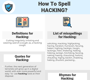 Hacking, spellcheck Hacking, how to spell Hacking, how do you spell Hacking, correct spelling for Hacking