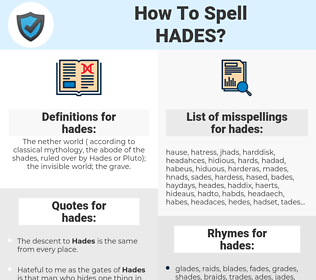hades, spellcheck hades, how to spell hades, how do you spell hades, correct spelling for hades