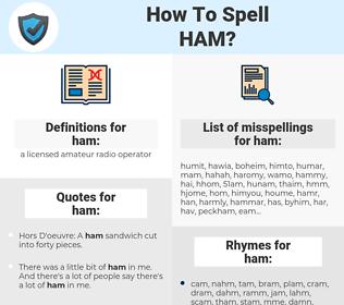 ham, spellcheck ham, how to spell ham, how do you spell ham, correct spelling for ham