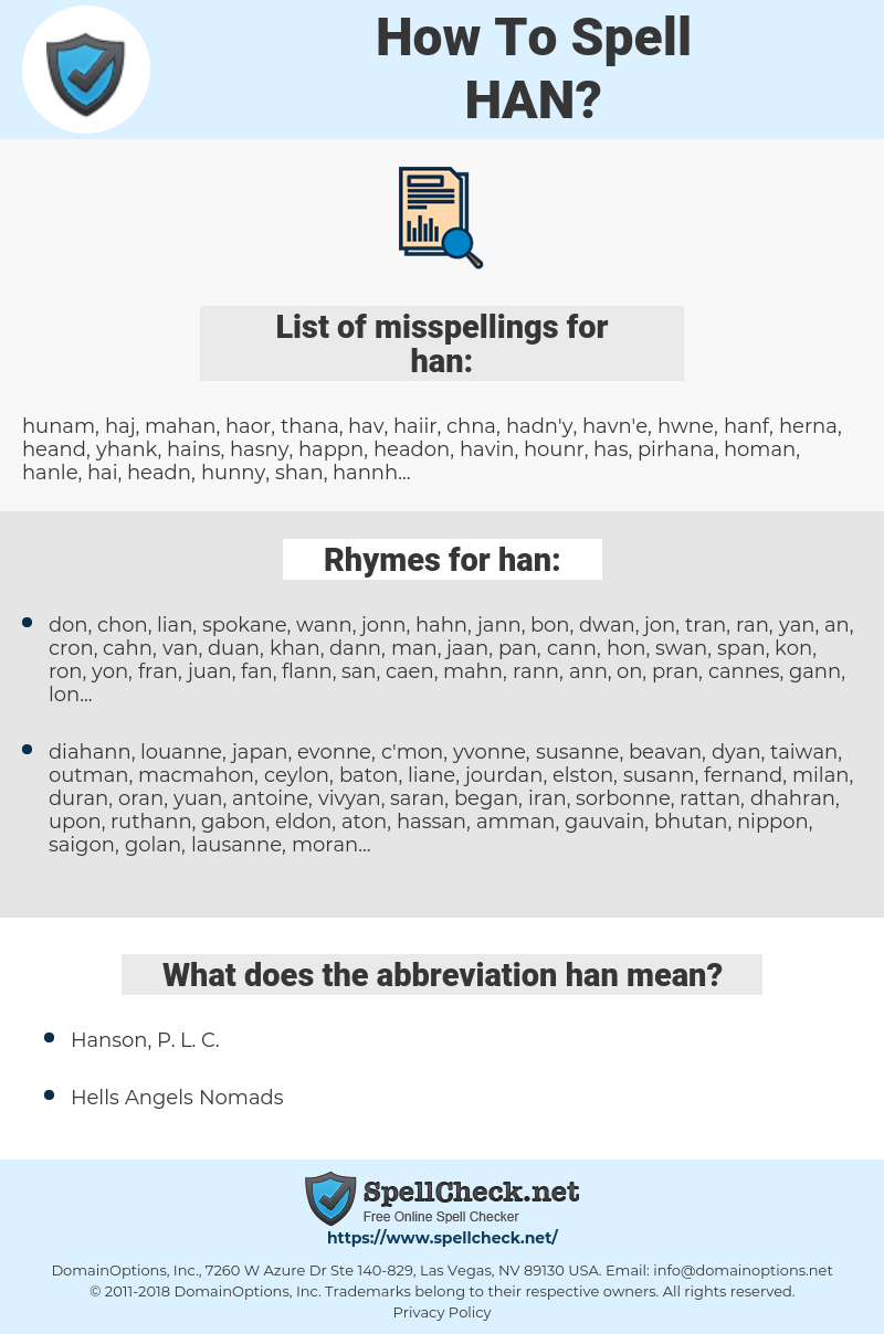 han, spellcheck han, how to spell han, how do you spell han, correct spelling for han