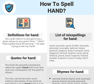 hand, spellcheck hand, how to spell hand, how do you spell hand, correct spelling for hand