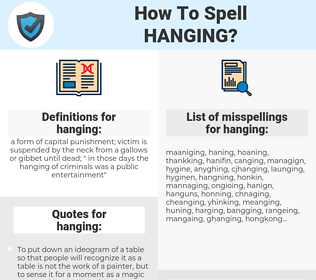 hanging, spellcheck hanging, how to spell hanging, how do you spell hanging, correct spelling for hanging