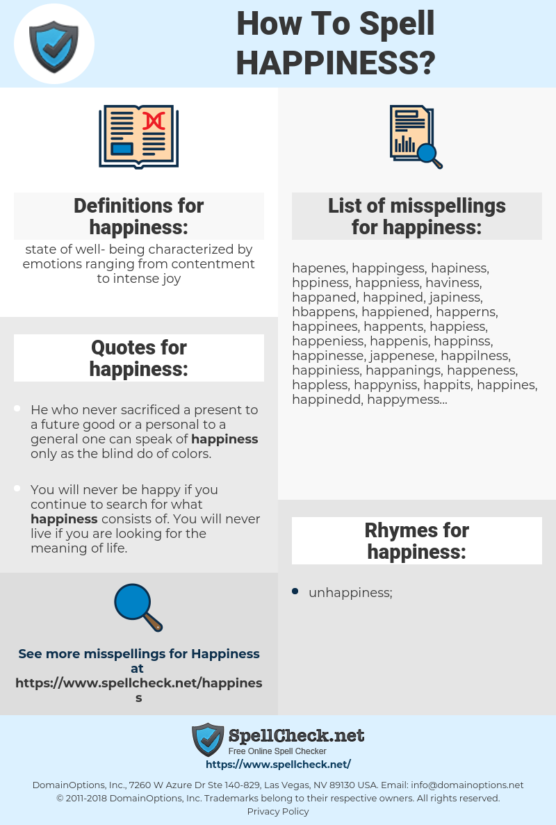 happiness, spellcheck happiness, how to spell happiness, how do you spell happiness, correct spelling for happiness