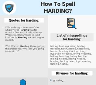 harding, spellcheck harding, how to spell harding, how do you spell harding, correct spelling for harding