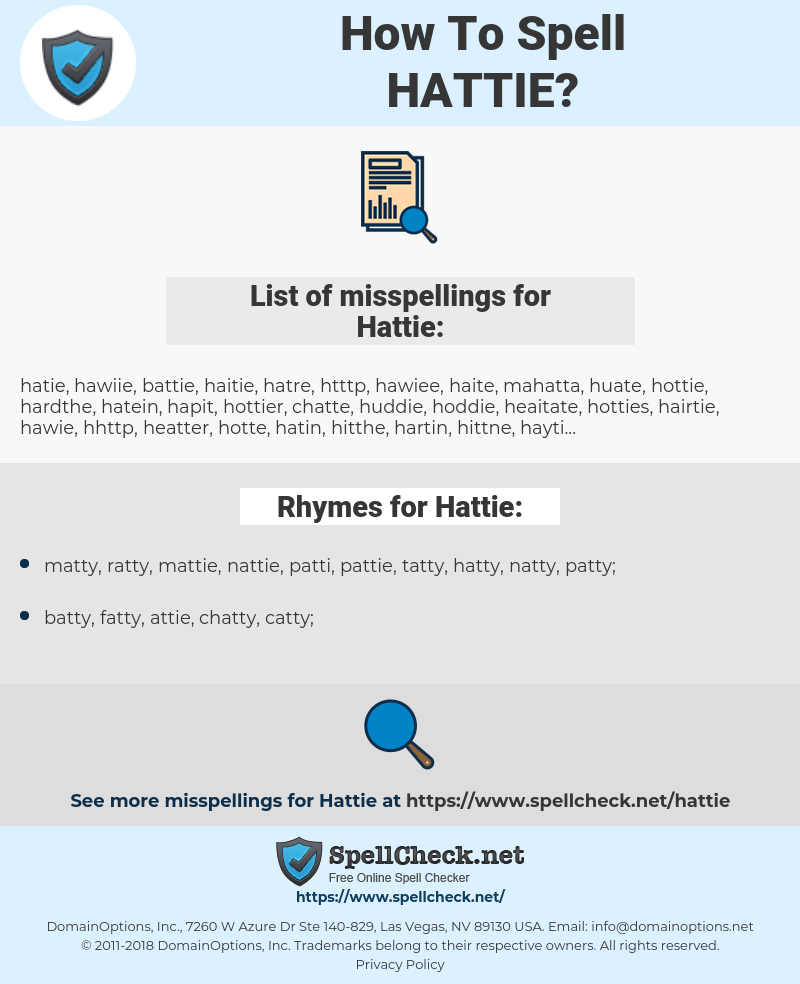 Hattie, spellcheck Hattie, how to spell Hattie, how do you spell Hattie, correct spelling for Hattie