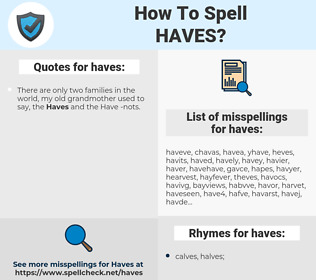 haves, spellcheck haves, how to spell haves, how do you spell haves, correct spelling for haves